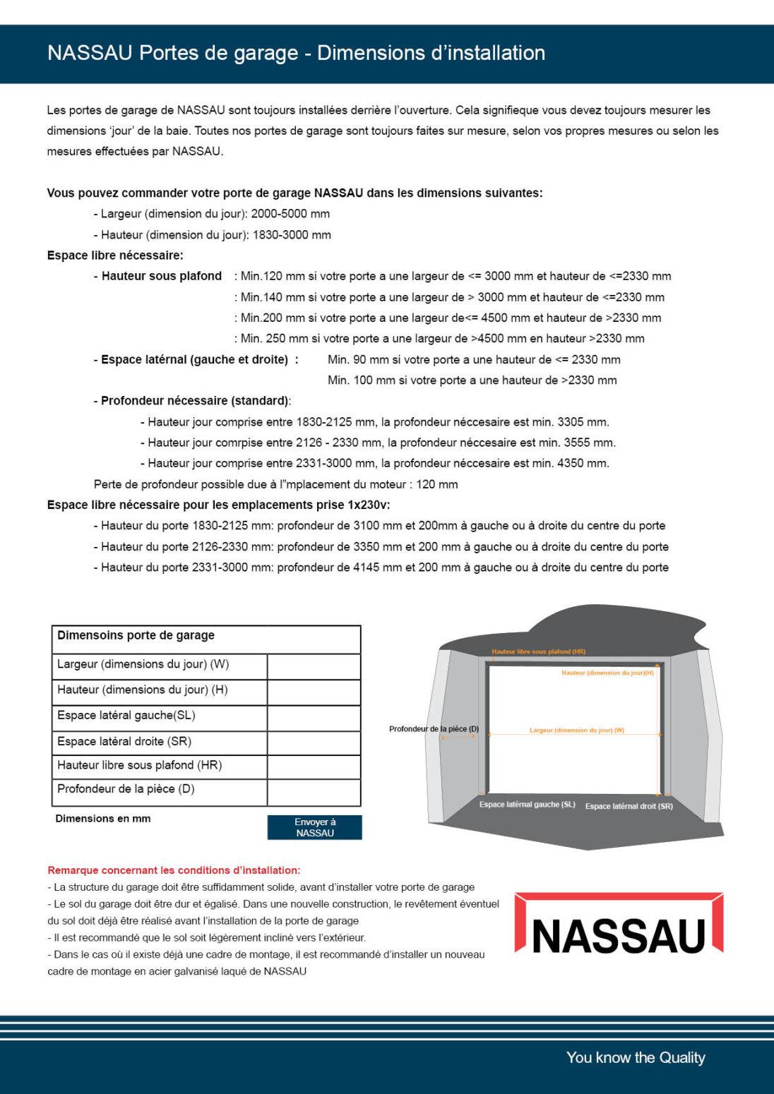 Nassau portes de garage - dimensions d'installation_version 2020